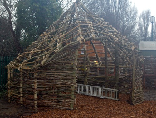 Thatching a Celtic round house